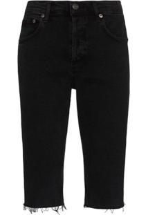 Agolde Short Jeans Com Acabamento Desfiado - Preto
