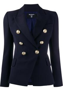 Balmain Double-Breasted Fitted Blazer - Azul
