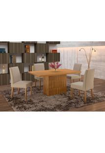 Conjunto De Mesa De Jantar Com 6 Cadeiras E Tampo De Madeira Maciça Arezo Ii Suede Imbuia Rustic E Cinza