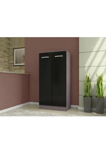 Armario Multiuso 2 Portas Clean Cinza/Preto - Demobile
