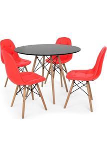 Conjunto Mesa Eiffel Preta 80Cm + 4 Cadeiras Dkr Charles Eames Wood Estofada Botonê Vermelha