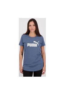 Camiseta Puma Essentials Heather Feminina Azul Mescla