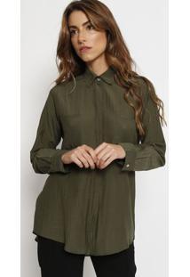 Camisa Texturizada Com Seda- Verde Militar- Vixvix