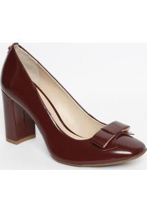 Sapato Em Couro Com Laço- Vinho- Salto: 8,5Cmjorge Bischoff