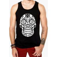 Camiseta Regata Criativa Urbana Caveira Mexicana Rosas - Masculino fb1d8487aee