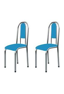 Kit 2 Cadeiras Anatômicas 0.122 Estofada Cromado/Azul - Marcheli