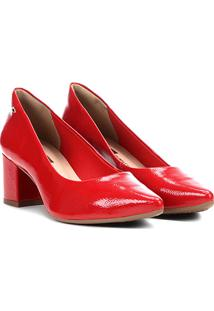 Scarpin Dakota Salto Grosso Bico Fino Verniz - Feminino-Vermelho