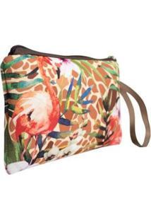 Necessaire Clássica Em Neoprene Tritengo Girafa Flamingos Floral Zíper - Feminino-Laranja+Marrom