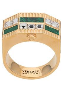 Versace Anel Medusa Com Aplicações - Dourado