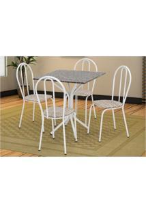 Jogo De Mesa Artefamol E 04 Cadeiras Thais Com Tampo Em Mdf Branca