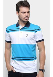 Camisa Polo Aleatory Malha Fio Tinto Masculina - Masculino-Azul+Branco