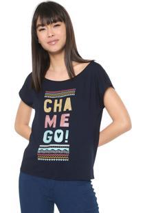 Camiseta Malwee Estampada Azul-Marinho
