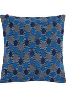 Capa De Almofada Lartex Jacquard Pahlavi 45X45 Azul/Cinza