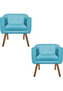 Kit 02 Poltrona Decorativa Julia Suede Azul Tiffany - D'Rossi