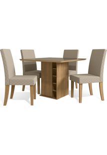 Mesa Para Sala De Jantar Com 4 Cadeiras Ba27-Kappesberg - Freijo / Bege