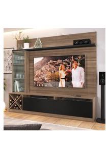 """Painel Home Para Tv 60"""" Com 3 Portas Montana Preto Lilies Móveis"""