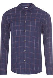 Camisa Masculina Slim Monte Carlo Xadrez - Azul