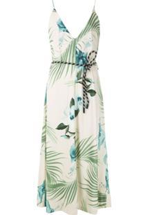 Osklen Vestido Hibisco Com Amarração Estampado - Branco