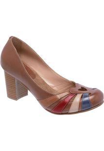 9bdc26154e Privalia. Sapato Bico Arredondado Tradicional Vazado Com Salto Feminino  Marrom Azul Rubi Couro Publish Recorte ...