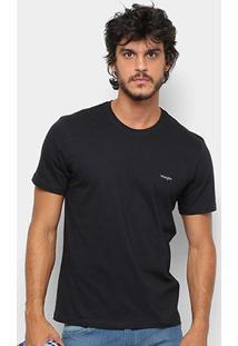 Camiseta Wrangler Básica Bordada Logo Masculina - Masculino-Preto