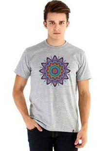 Camiseta Ouroboros Manga Curta Mandala Florescnt Masculina - Masculino-Cinza