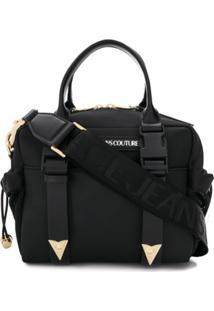 Versace Jeans Couture Bolsa Tote Com Patch De Logo E Detalhe De Mesh - Preto