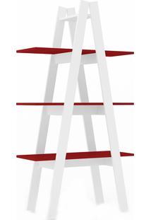 Estante Escada Com 3 Prateleiras Rt3047 - Movelbento - Branco / Vermelho