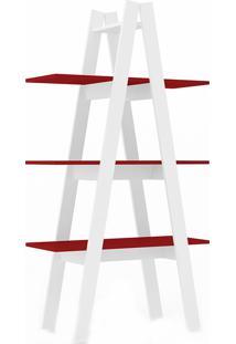 Estante Escada Rt3047 - Movelbento - Branco / Vermelho