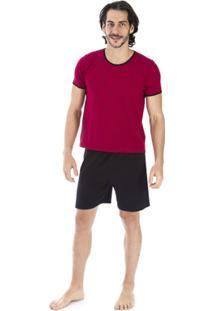 Pijama Curto Inspirate Piquet Masculino - Masculino-Vermelho Escuro+Preto