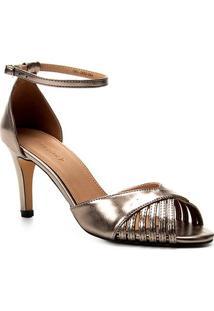 Sandália Shoestock Metalizada Salto Fino Feminina - Feminino-Prata