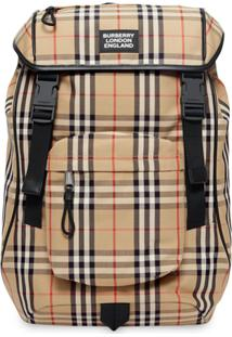 Burberry Logo Detail Vintage Check Backpack - Neutro