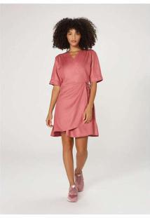 Vestido Midi Envelope Sarjado Rosa
