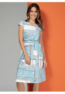 Vestido Floral Azul Com Elástico Na Cintura
