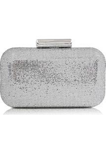 Clutch Em Tecido Glitter Prata