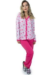 Pijama Mvb Modas Aberto Blusa Com Botões E Calça Feminino - Feminino-Rosa