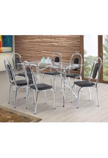 Conjunto De Mesa Com 6 Cadeiras Fusion Móveis Brastubo Incolor/Preto