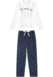 Pijama Longo Estampado Let Me Sleep Malwee Liberta