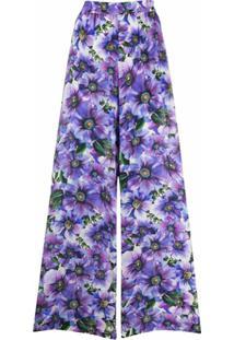 Dolce & Gabbana Calça Palazzo Com Estampa Floral - Roxo