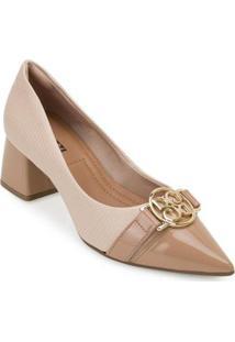 Sapato Salto Bloco Bebecê Bc20-T3820 - Feminino-Nude