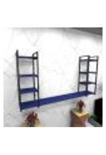 Estante Estilo Industrial Sala Aço Cor Preto 180X30X98Cm (C)X(L)X(A) Cor Mdf Azul Modelo Ind53Azsl