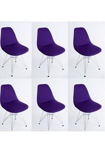Kit Com 06 Capas Para Cadeira De Jantar Eiffel Wood Roxo