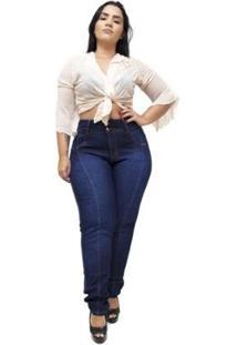 Calça Jeans Latitude Plus Size Claudinice Feminina - Feminino-Azul