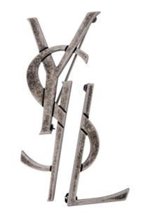 Saint Laurent Conjunto De Broches 'Monogram' - Metálico