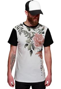 Camiseta Di Nuevo Branca Com Flor Rosa Rap Flowers Florida Preta