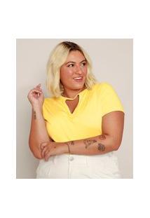Camiseta Feminina Plus Size Básica Com Vazado Manga Curta Amarela