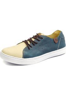 Sapatênis Casual Shoes Grand Estampado Creme/Azul
