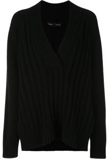 Proenza Schouler Blusa Oversized De Tricô Com Decote Em V - Preto