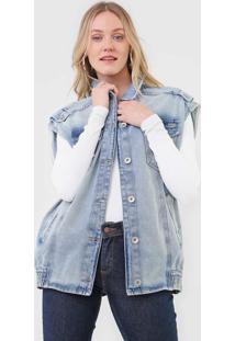 Colete Jeans Colcci Botões Azul