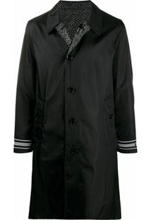Burberry Trench Coat Dupla Face Monogramada - Preto