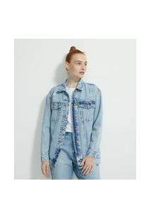 Jaqueta Alongada Em Jeans Com Puídos | Blue Steel | Azul | M